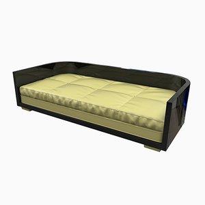 Schwarzes Art Deco Sofa, 1920er
