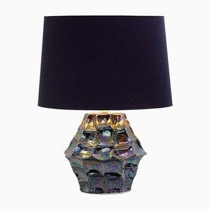 Lámpara de mesa de cerámica iridiscente, años 70