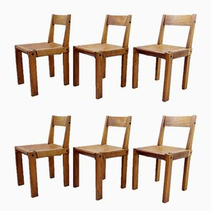 French Elm And Leather S24 Dining Chairs by Pierre Chapo, 1960s, Set of 6