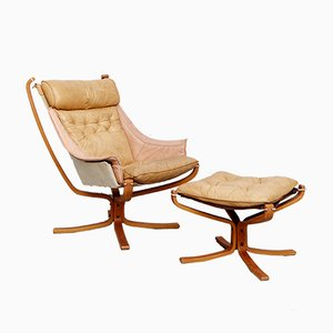 Falcon Chair & Ottoman by Sigurd Ressell for Vatne Møbler, 1970s