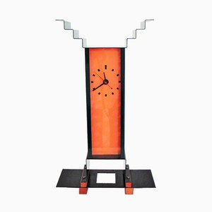 Orange & Green Enameled Steel and Stained Ash Oppenheimer Table Clock by George Sowden for Memphis, 1983