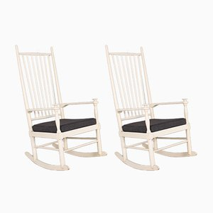 Mid-Century White Rocking Chairs by Karl-Axel Adolfsson for Gemla, Set of 2