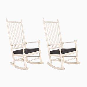 Mid-Century White Rocking Chairs par Karl-Axel Adolfsson pour Gemla, Set de 2