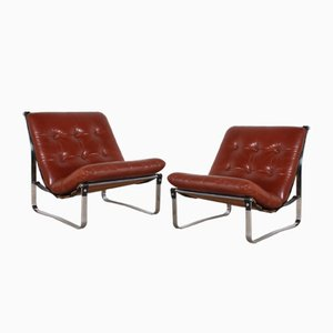 Vintage Cognac Leather Lounge Chairs by Kho Liang Ie for Artifort, Set of 2