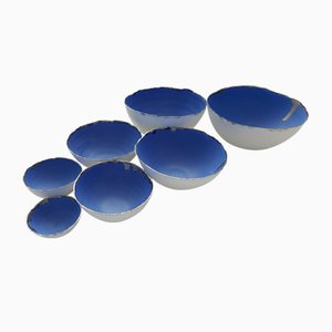 Fine Bone China Stoneware Nesting Bowls in Blue & White with Platinum Finish by Manos Kalamenios for madebymanos, Set of 7