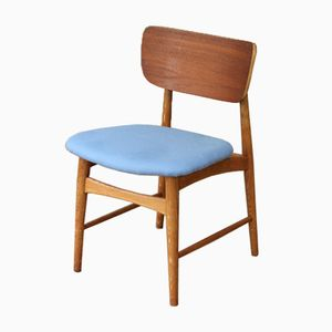 Mid-Century Danish Side Chair with Cornflower Blue Upholstery