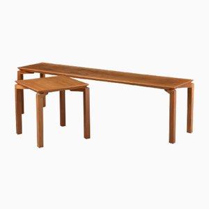 Mesa de centro danesa vintage & mesa auxiliar