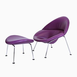 Purple Leather Globe Lounge Chair & Ottoman by Pierre Paulin for Artifort, 1960s