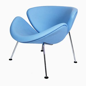 Baby Blue Leather F437 Orange Slice Chair by Pierre Paulin for Artifort, 1960s