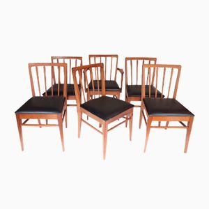 Vintage Danish Chairs with Black Skai Seats, Set of 6