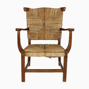 Antiker Eichenholz Armlehnstuhl mit geflochtenem Sitz, 1930er