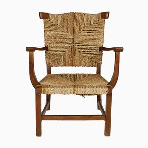 Antique Oak Armchair with Braided Rush Seat, 1930s