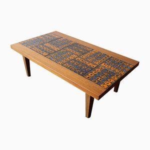 Tavolino da caffè basso con mattonelle in ceramica, anni '60
