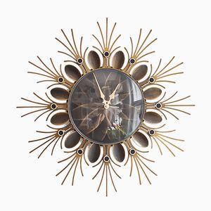 Large Vintage Sunburst Wall Clock from Atlanta