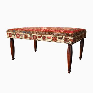 Antique Kilim Rug Footstool or Side Table with Mahogany Legs