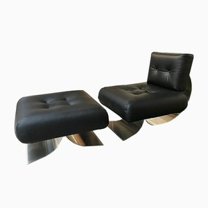 Brazilia ON1 Lounge Chair & Ottoman by Oscar Niemeyer for Mobilier International, 1970s