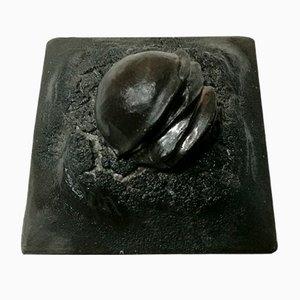 Italian Black Ceramic Sculpture by Carlo Zauli, 1970s
