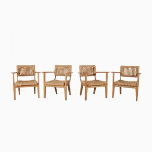 Vintage Beech & Rope Armchairs by Adrien Audoux & Frida Minet for Vibo Vesoul, Set of 4
