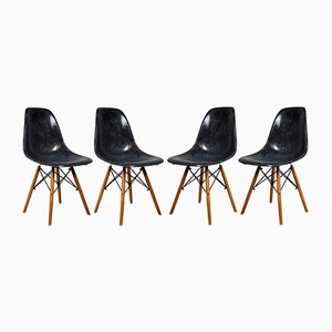 Vintage Fiberglass DSW Chairs by Charles & Ray Eames for Herman Miller, Set of 4