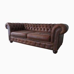 Chesterfield Leder 3-Sitzer Sofa, 1970er