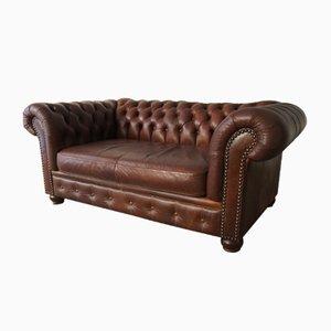 Chesterfield Leder 2-Sitzer Sofa, 1970er