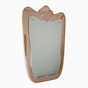 Espejo de pared italiano en rosado y dorado de Marino Spelta, años 50