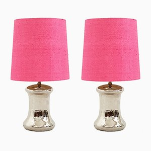Silver Glazed Table Lamps with Pink Shades, 1970s, Set of 2