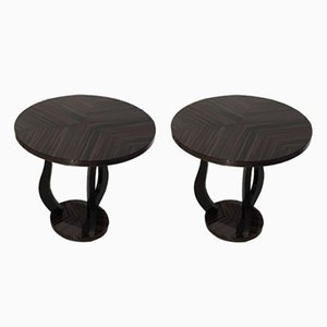 Tables d'Appoint Art Deco en Macassar, 1930s, Set de 2