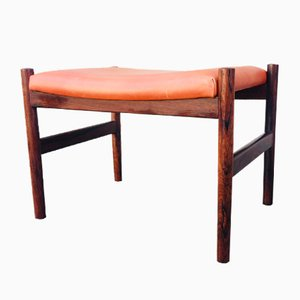 Danish Rosewood & Leather Ottoman by Hugo Frandsen for Spøttrup, 1960s