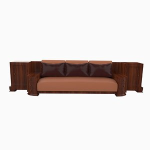 Large Art Deco Walnut Sofa, 1920s