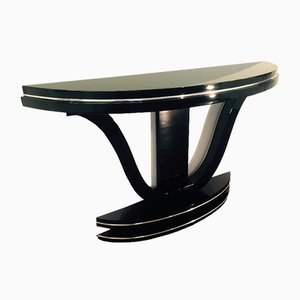Mesa consola Art Déco curvada con acabado de espejo, años 20
