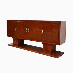 Art Deco Walnut Sideboard with Large Column Feet, 1930s