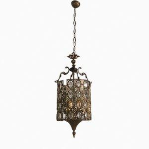 Lámpara colgante vintage de bronce con cristales