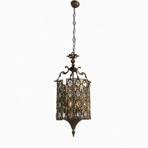 Vintage Bronze Pendant Light with Crystals