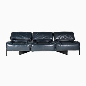 Model Veranda Dark Blue Leather 3-Seater Sofa by Vico Magistretti for Cassina, 1980s