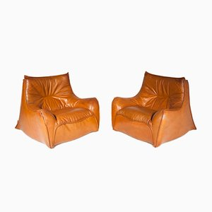 Leather Lounge Chairs by Michel Ducaroy for Ligne Roset, 1970s, Set of 2