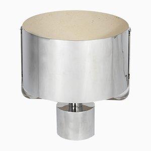 Lámpara de mesa de metal cromado de Jacques Quinet, años 70