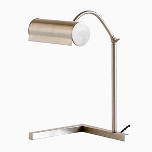 Modernist Brushed Steel Desk Lamp, 1930s