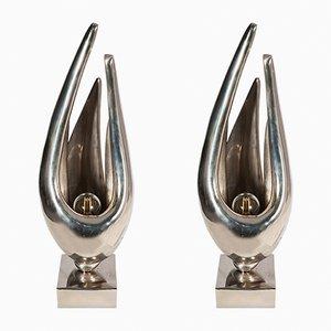 Lámparas Flame de bronce de Michel Armand, años 70. Juego de 2
