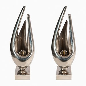 Lampes Flame en Bronze par Michel Armand, 1970s, Set de 2
