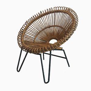 Rattan Stuhl mit Metall Beinen, 1960er
