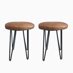 Mid-Century Leather & Metal Stools, Set of 2
