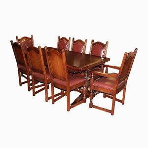 Oak Draw Leaf Table & 8 Leather Chairs, 1940s