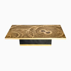 Brass & Ammonite Coffee Table by Georges Mathias, 1970s