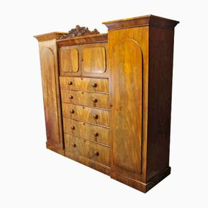 Victorian Mahogany Sentinel Wardrobe with Carved Top Cornice