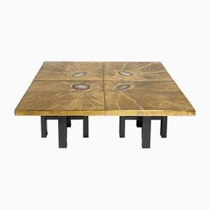 Tables Basses Modulaires avec Gravures En Laiton et Incrustations d'Agate par Lova Création, 1970s, Set de 4