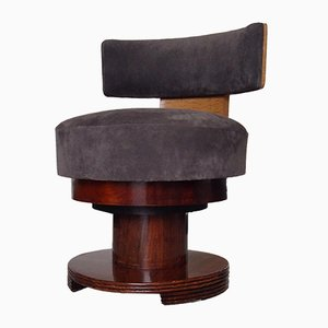 Art Deco Round Maple & Rosewood Side Chair with Nubuck Leather