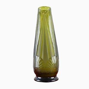 Vaso Art Deco in vetro verde di Legras, anni '30