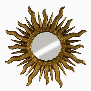 Mid-Century Golden Sunburst Mirror, 1960s