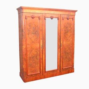 Armario compacto vintage grande de tres puertas de caoba con espejo